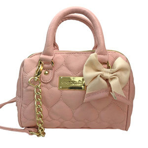 Betsey Johnson Pink Blush Quilted Heart Purse